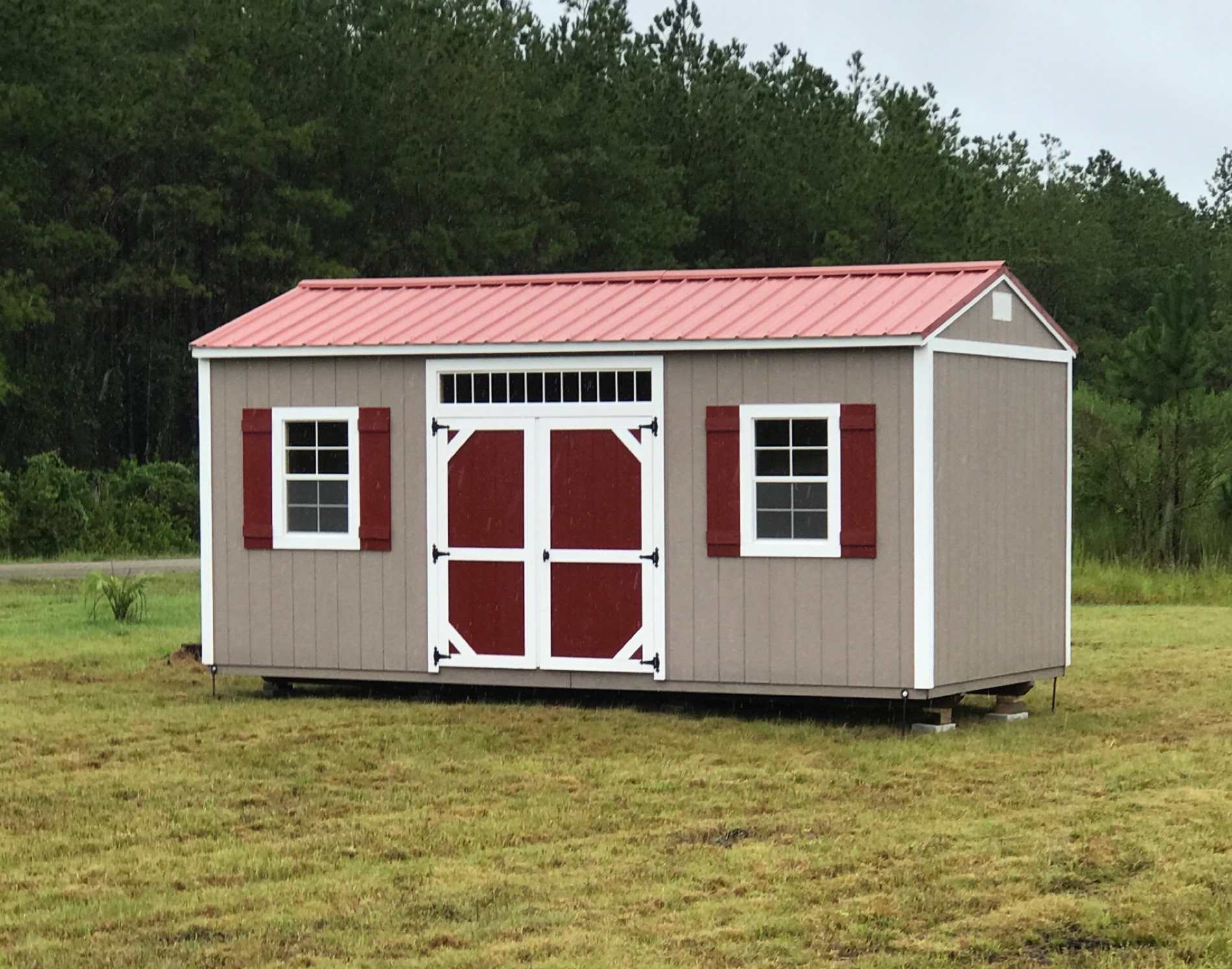 Side Garden Shed with Accent Painted Doors and Transom
